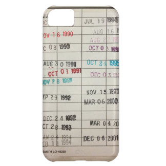 Vintage Library Due Date Cards Cover For iPhone 5C