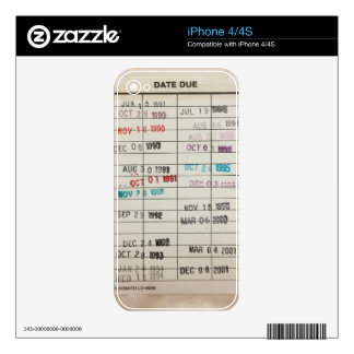 Vintage Library Due Date Cards Decals For The iPhone 4