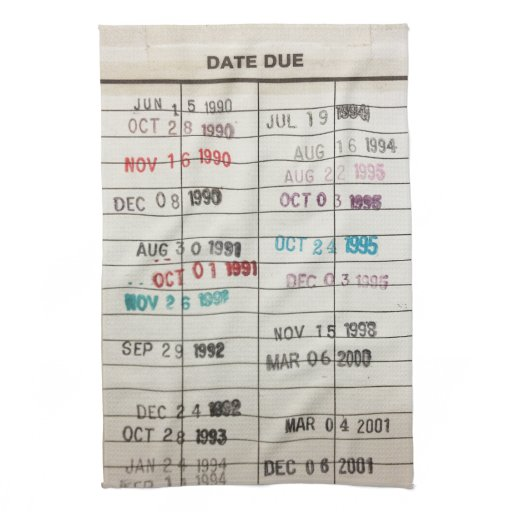 Vintage Library Due Date Cards Hand Towel