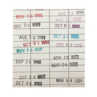 Vintage Library Due Date Cards Note Pad
