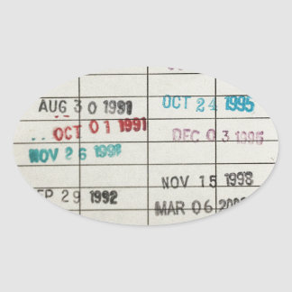 Vintage Library Due Date Cards Oval Sticker
