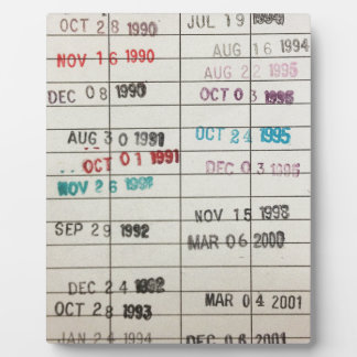 Vintage Library Due Date Cards Plaque