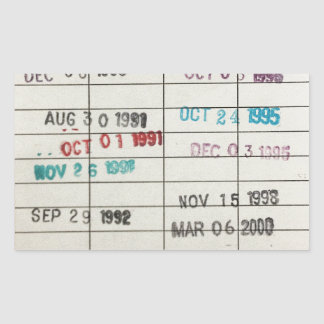 Vintage Library Due Date Cards Rectangular Sticker