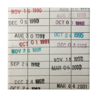 Vintage Library Due Date Cards Small Square Tile