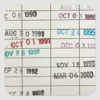 Vintage Library Due Date Cards Square Sticker