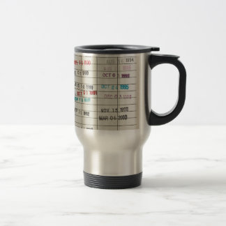 Vintage Library Due Date Cards Travel Mug