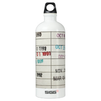 Vintage Library Due Date Cards Water Bottle