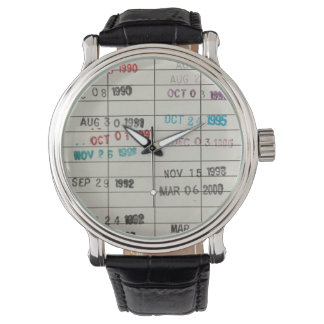 Vintage Library Due Date Cards Wrist Watch
