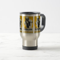 Vintage Library Poster The Thinker Libraries Travel Mug