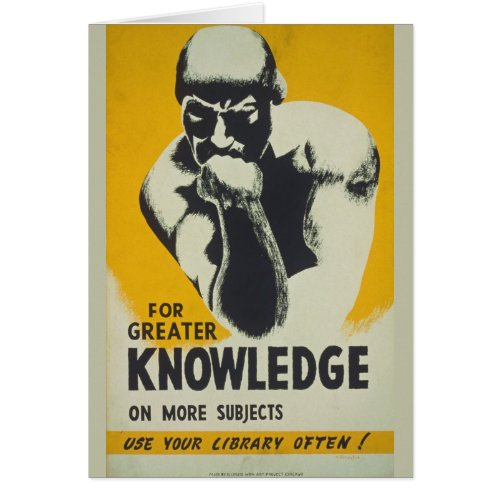 Vintage Library Poster Thinker Statue Librarians