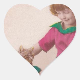vintage libre imprimible - foto del chica y del ga colcomanias corazon