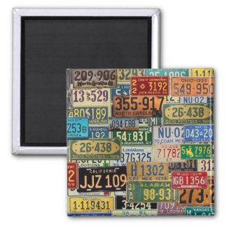 Vintage License Plates 2 Inch Square Magnet