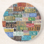 Vintage License Plates Drink Coasters