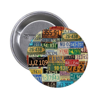 Vintage License Plates Pinback Button