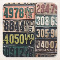 Vintage License Plates Square Paper Coaster