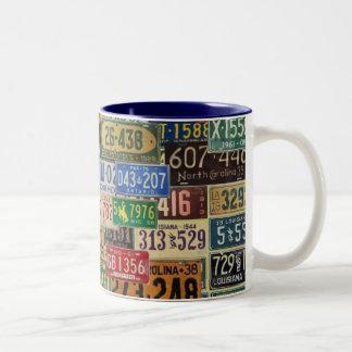 Vintage License Plates Two-Tone Coffee Mug