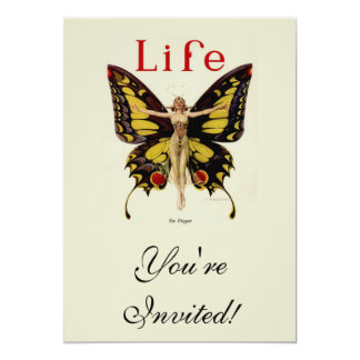 Vintage Life Flapper Butterfly 1922 Invitations