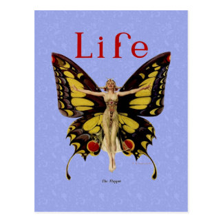 Vintage Life Flapper Butterfly 1922 Postcard