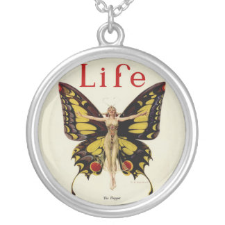 Vintage Life Flapper Butterfly 1922 Silver Plated Necklace