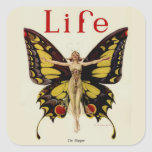 Vintage Life Flapper Butterfly 1922 Square Sticker