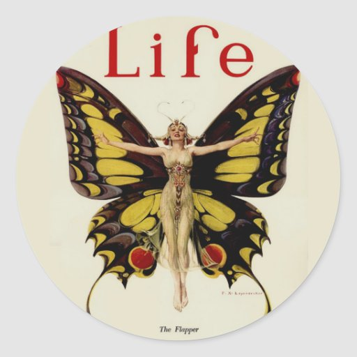 Vintage Life Flapper Butterfly 1922 Classic Round Sticker