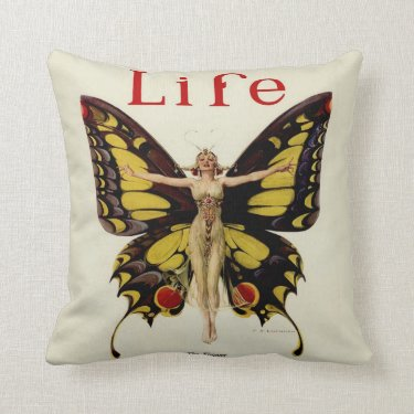Vintage Life Flapper Butterfly 1922 Throw Pillow