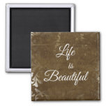 Vintage Life is Beautiful Quote 2 Inch Square Magnet