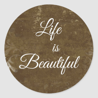 Vintage Life is Beautiful Quote Classic Round Sticker
