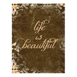Vintage Life is Beautiful Quote Postcard