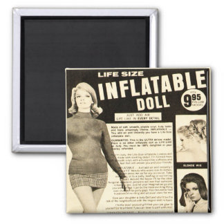 Vintage Life-size Inflatable Doll Advertisement 2 Inch Square Magnet