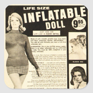 Vintage Life-size Inflatable Doll Advertisement Square Sticker