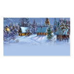 Vintage light blue Christmas snowy world picture. Business Card