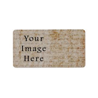 Vintage Light Brown Script Text Parchment Paper Label