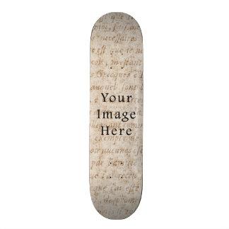 Vintage Light Brown Script Text Parchment Paper Custom Skateboard