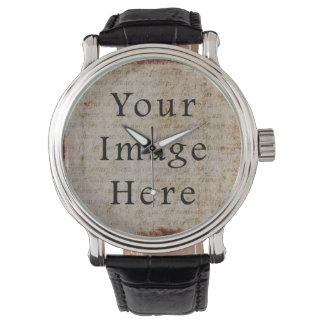 Vintage Light Brown Script Text Parchment Paper Watch