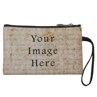 Vintage Light Brown Script Text Parchment Paper Wristlet Wallet