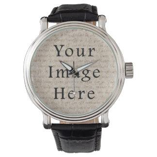 Vintage Light Brown Script Text Parchment Paper Wristwatch