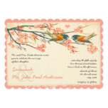 Vintage Light Coral Teal Love Birds Wedding Invite