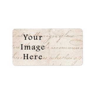 Vintage Light Cream Brown Script Text Parchment Label