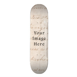 Vintage Light Cream Brown Script Text Parchment Custom Skateboard