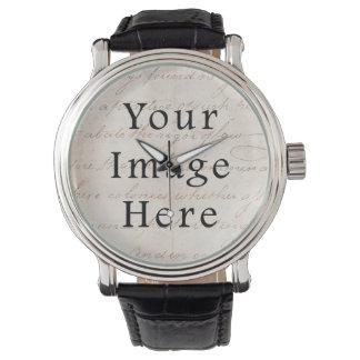 Vintage Light Cream Brown Script Text Parchment Watches