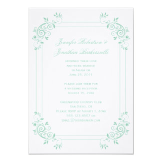 Vintage Light Jade White FloralSwirls Post Wedding 5x7 Paper Invitation Card