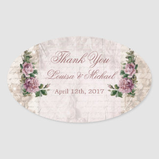 Vintage light pink roses Wedding Thank You Sticker