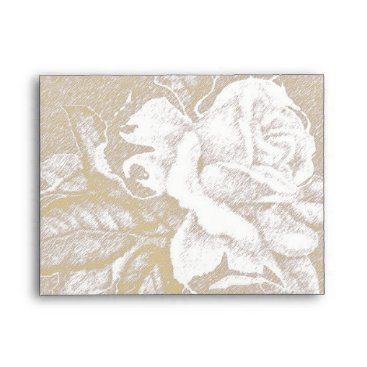 invitations_kits Vintage light sepia pink white rose small envelope
