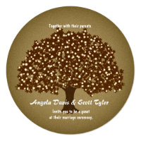 Vintage Lighted Tree Round Wedding Invitation