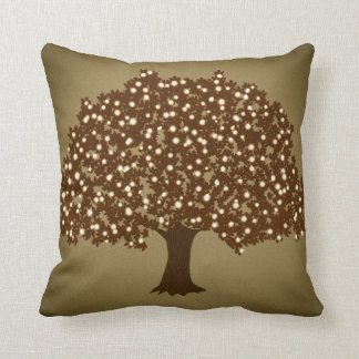 Vintage lighted tree rustic throw pillow decor