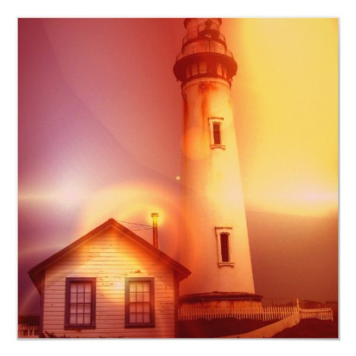 "Vintage Lighthouse Invitation 5.25"" Square Invitation Card"
