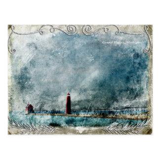 Vintage Lighthouse & Pier Long Shot Postcard