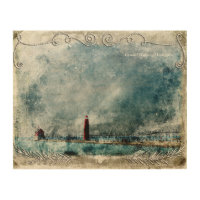 Vintage Lighthouse & Pier Long Shot