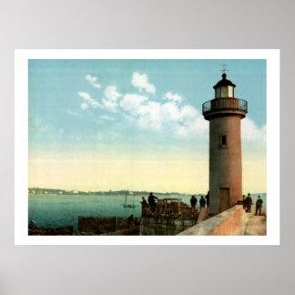 Vintage Lighthouse Port Le Vieux harbor, Cannes Poster